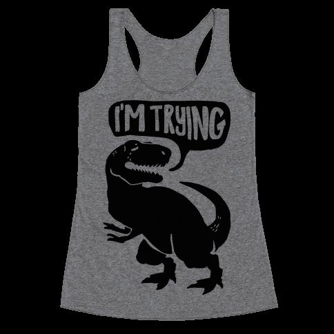 Hug Me Dinosaur (Part Two) Racerback Tank Top