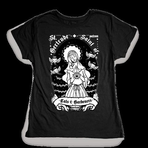 Saint Gertrude of Cats Womens T-Shirt