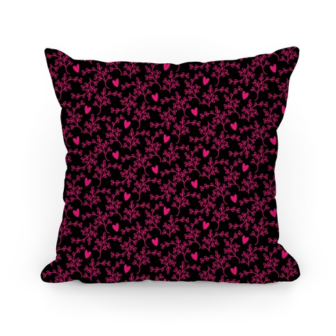 Pink and Black Floral Hearts Pattern Pillow