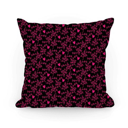 Pink and Black Floral Hearts Pattern