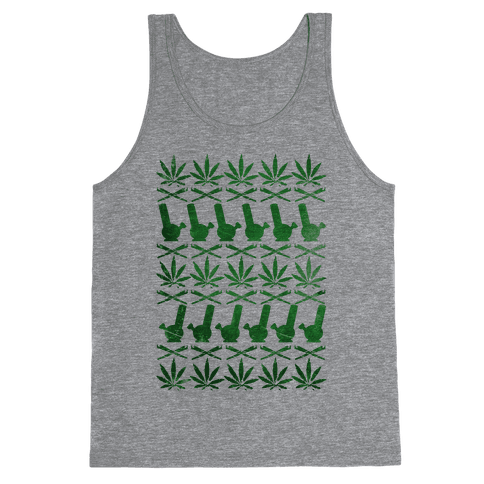 Weed Pattern  Tank Top