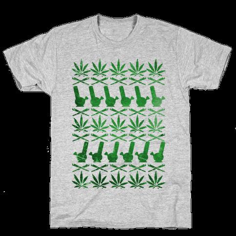 Weed Pattern  Mens T-Shirt
