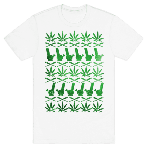 Weed Pattern  Mens T-Shirt