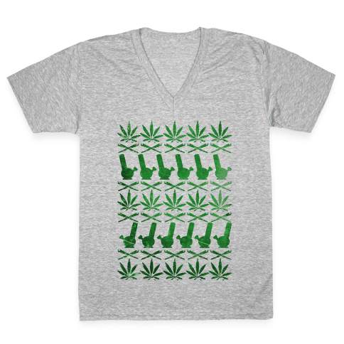 Weed Pattern  V-Neck Tee Shirt