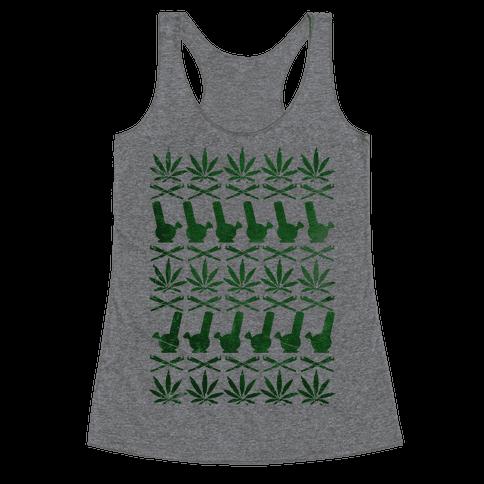 Weed Pattern  Racerback Tank Top
