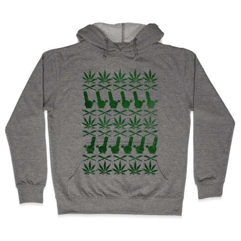 Weed Pattern  Hooded Sweatshirt