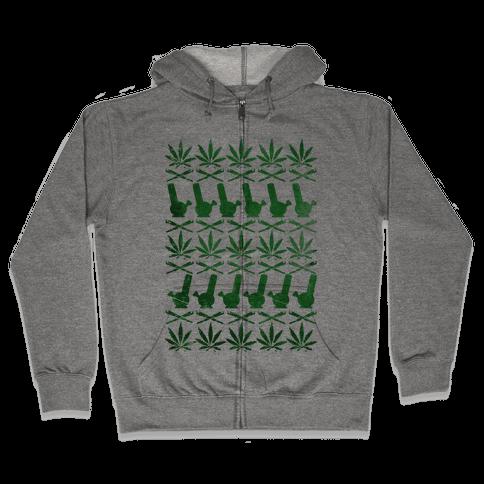Weed Pattern  Zip Hoodie