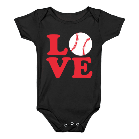 Love Baseball Baby Onesy