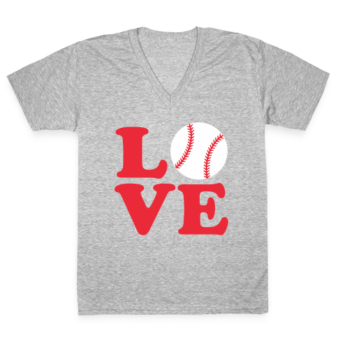 Love Baseball V-Neck Tee Shirt