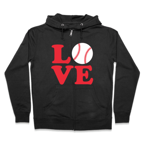 Love Baseball Zip Hoodie