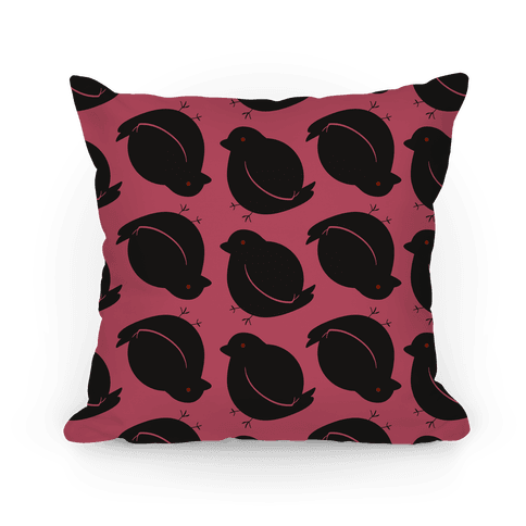 Chubby Bird Pattern Pillow (Raven)