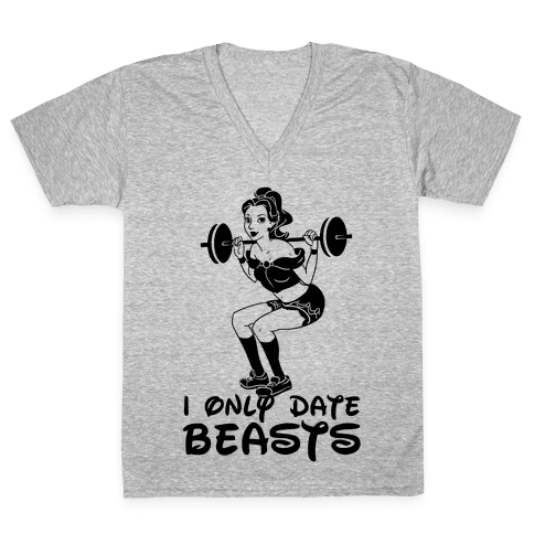 I Only Date Beasts (neon) V-Neck Tee Shirt