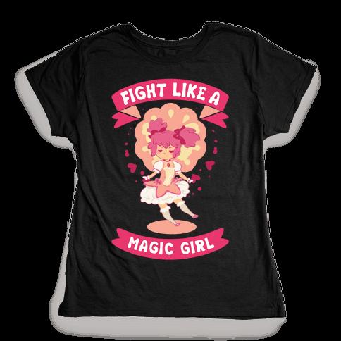 Fight Like A Magic Girl Madoka Parody Womens T-Shirt