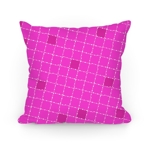 Pink Dashed Checkers Pattern Pillow