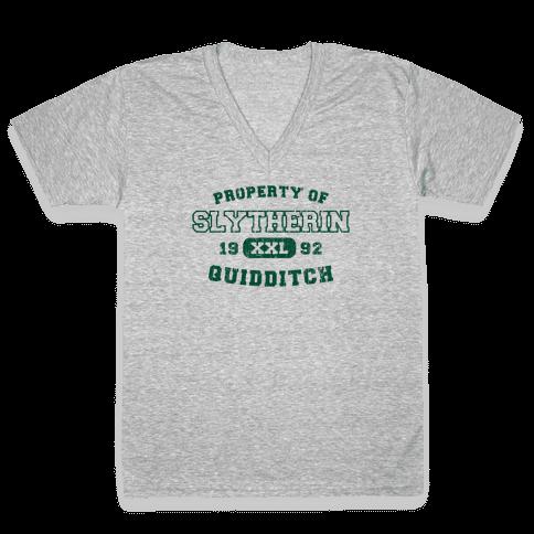 Slytherin Quidditch Athletics V-Neck Tee Shirt