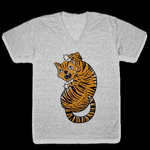 The Ferocious Tiger V-Neck Tee Shirt