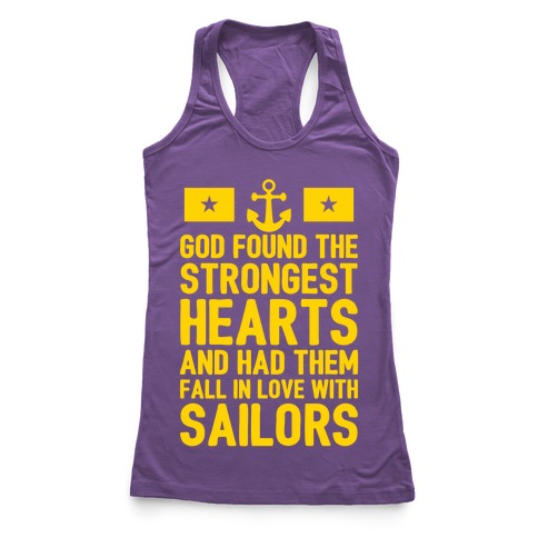 God Found The Strongest Hearts (Navy) Racerback Tank Top