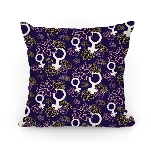 Female Symbol and Lotus Flowers Purple Pattern Pillow