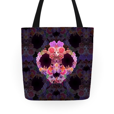 Floral Cat Skull Collage Tote
