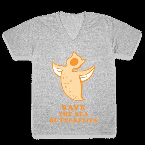Save The Sea Butterflies V-Neck Tee Shirt