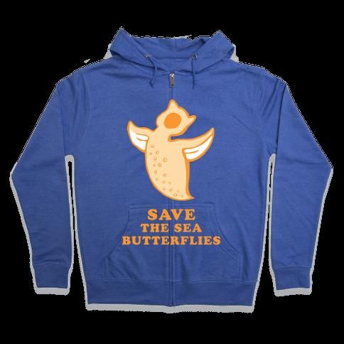 Save The Sea Butterflies Zip Hoodie