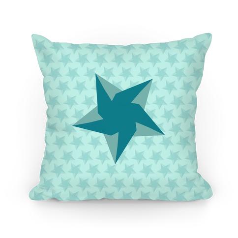 Teal Star Pattern Pillow
