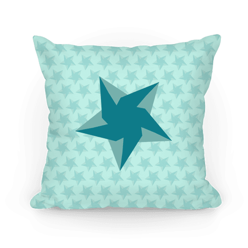Teal Star Pattern Pillow