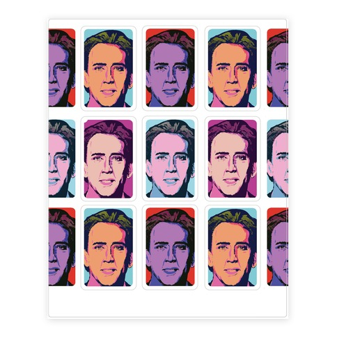 Nicolas Cage Pop Art Parody Sticker and Decal Sheet