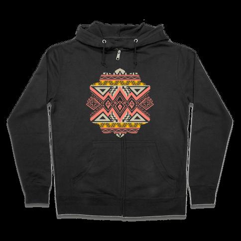Aztec Mandala Zip Hoodie