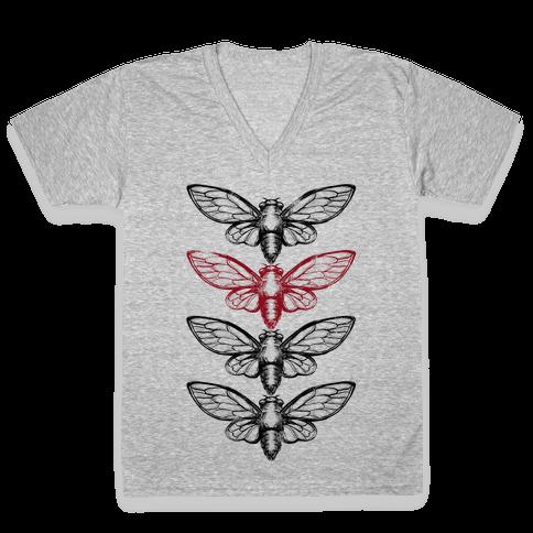 4 Cicadas V-Neck Tee Shirt
