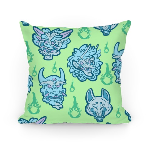 Oni Demons Pattern Pillow