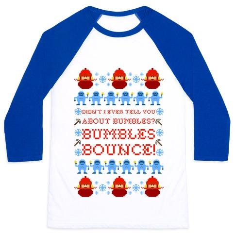 Yukon Cornelius and Bumble Ugly Sweater Baseball Tee