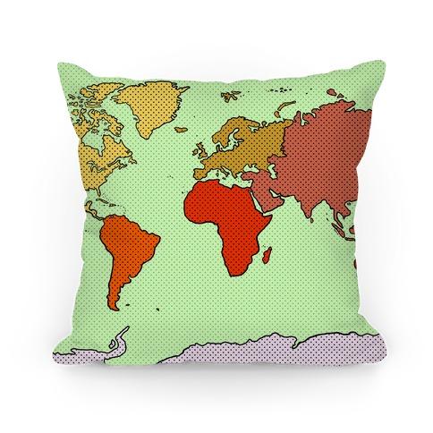 Wanderlust World Map Pillow