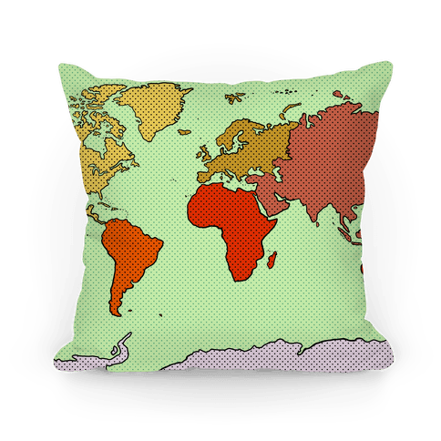 Wanderlust World Map Pillow