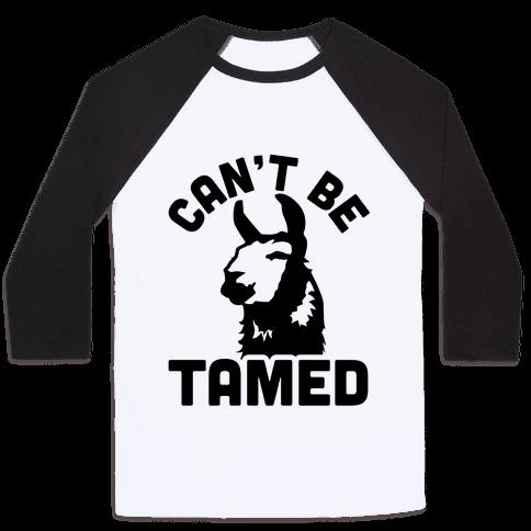 Can't Be Tamed Run Away Llama Baseball Tee
