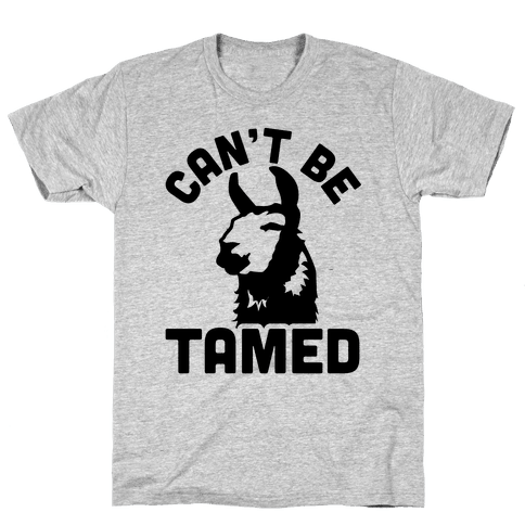 Can't Be Tamed Run Away Llama Mens T-Shirt