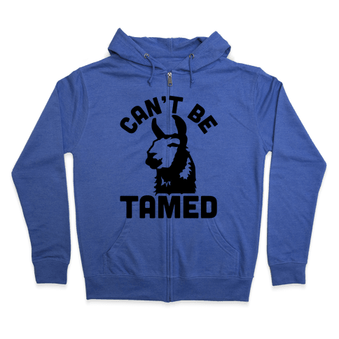 Can't Be Tamed Run Away Llama Zip Hoodie