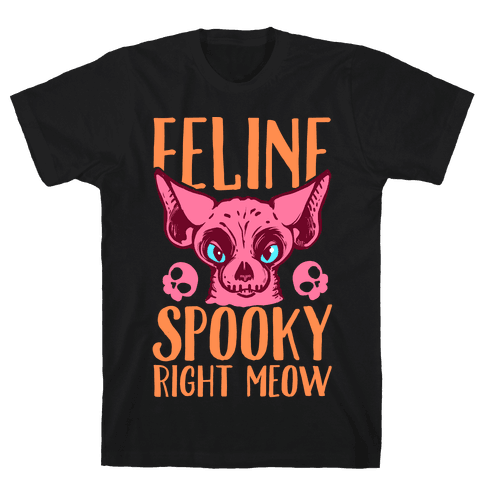 Feline Spooky Right Meow Mens T-Shirt