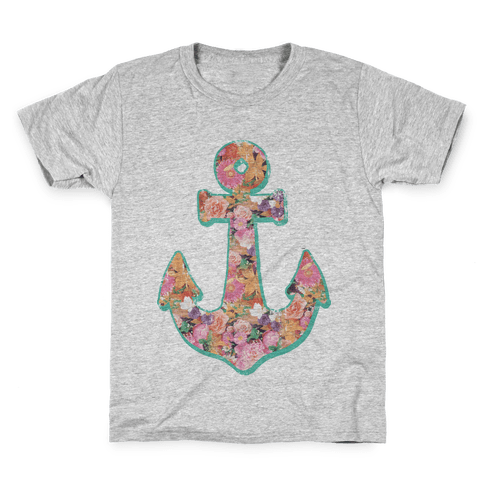 Floral Anchor (Coral) Kids T-Shirt
