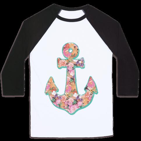 Floral Anchor (Coral) Baseball Tee