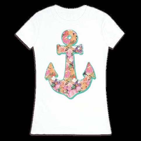 Floral Anchor (Coral) Womens T-Shirt