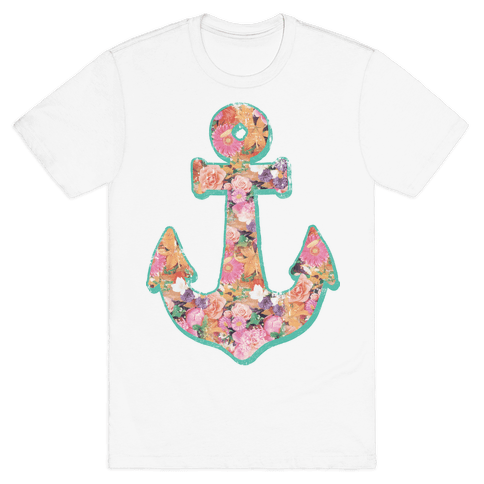 Floral Anchor (Coral) Mens T-Shirt