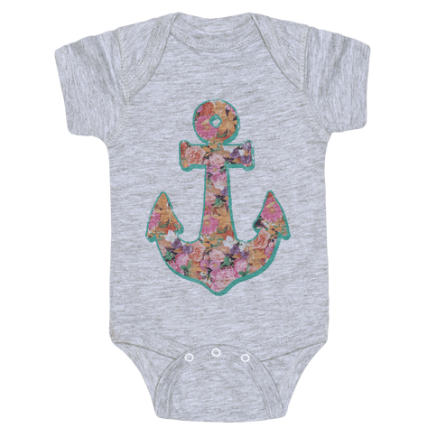 Floral Anchor (Coral) Baby Onesy