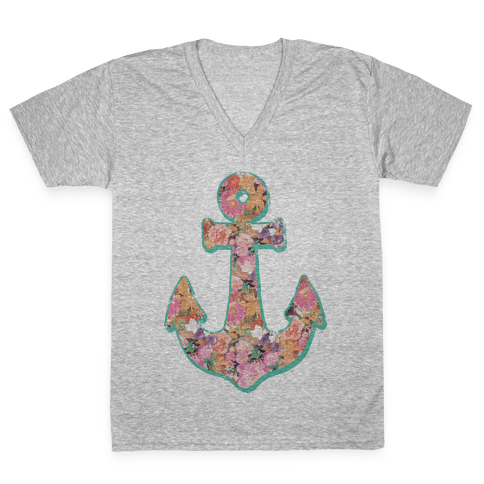 Floral Anchor (Coral) V-Neck Tee Shirt