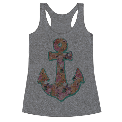 Floral Anchor (Coral) Racerback Tank Top