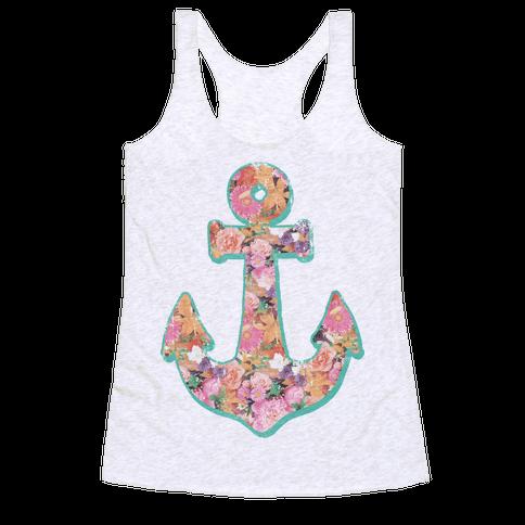 Floral Anchor (Coral) Racerback Tank Top