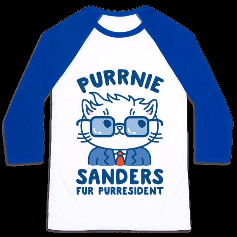Purrnie Sanders Fur Purresident Baseball Tee