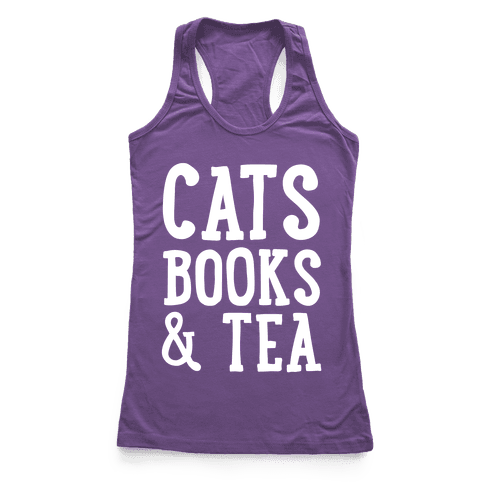 Cats, Books & Tea Racerback Tank Top