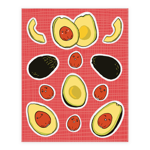 Adorable Kawaii Avocados  Sticker/Decal Sheet