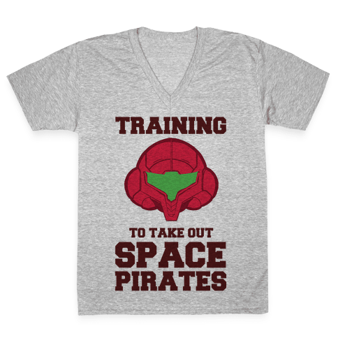 Training To Take Out Space Pirates V-Neck Tee Shirt